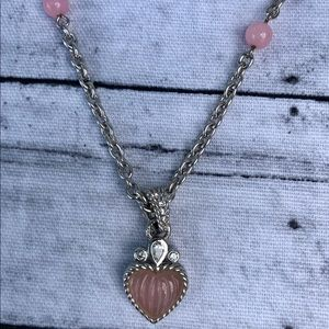 Judith Ripka 925 Sterling pink heart necklace